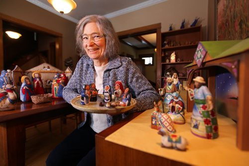 Caryn Douglas, United Church minister with of few of her many nativity scenes she displays in her house over the holidays. Dec 12,  2014 Ruth Bonneville / Winnipeg Free Press