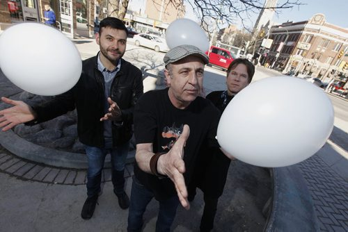 March 16, 2015 - 150316  -  Documentary film maker Nihad Ademi (C) with WSO's Alexander Mickelthwate (R) and Frank Albo are photographed Monday, March 16, 2015 in Osborne Village. Ademi plans on making, White Balloon, a documentary about the nightmare of his imprisonment in a Bosnian concentration camp with the help of filmmaker Guy Maddin, WSO music director Alexander Mickelthwate and Frank Albo.  Mickelwaite. John Woods / Winnipeg Free Press