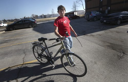Andriy Chuprov had his bike stolen - finds it on Kijiji, meets with guy and gets it back. See Jenna Dulewich story and photo of the culprit Andriy emailed to fpphoto. April 10, 2015 - (Phil Hossack / Winnipeg Free Press)