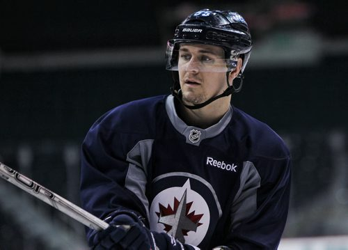 Winnipeg Jets' Mark Scheifele (55) during the morning pre-game skate at MTS Centre. The Jets will face-off against the Anaheim Ducks in the fourth game of their Stanley Cup playoff series tonight.   150422 April 22, 2015 Mike Deal / Winnipeg Free Press