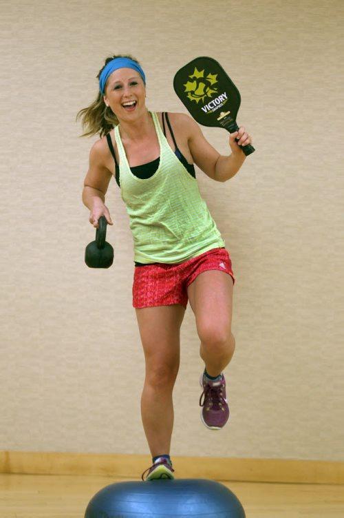 Cara Gulay works outs at The Wellness Institute on Leila Ave -see Tim Shantz  fitness column- Apr 27, 2015   (JOE BRYKSA / WINNIPEG FREE PRESS)