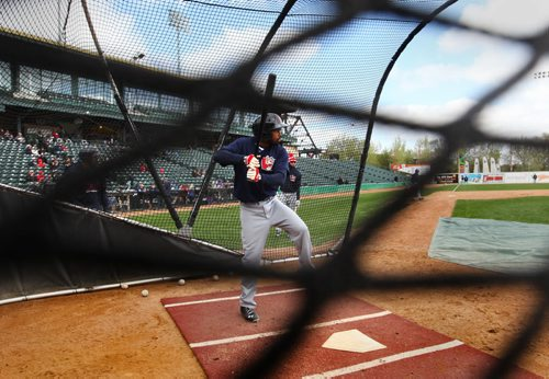 Goldeyes infielder #9 Casio Grider, gets ready to strike the ball during Spring Training and the Goldeyes annual Open House at Shaw Park Saturday afternoon.   May 09, 2015 Ruth Bonneville / Winnipeg Free Press