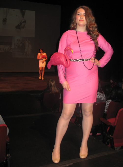 Canstar Community News May 7, 2015 - Murdoch MacKay's annual student fashion show included Jordan Small's pink zebra dress (foreground) and Katrin Gusowski's white dress with lace sleeves (background). (SHELDON BIRNIE/CANSTAR COMMUNITY NEWS/THE HERALD)
