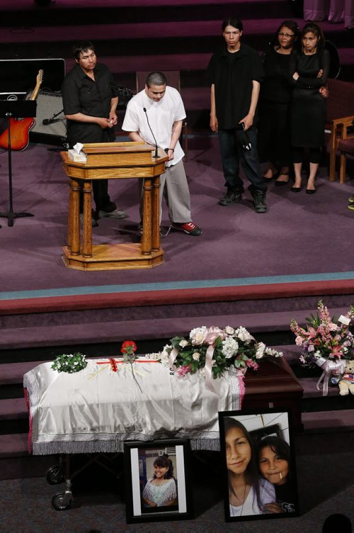 May 25, 2015 - 150525  -  Teresa Robinson's brother and family speak at her memorial service. Friends and family came together to celebrate the life of Teresa Robinson at Calvary Temple Monday, May 25, 2015. John Woods / Winnipeg Free Press