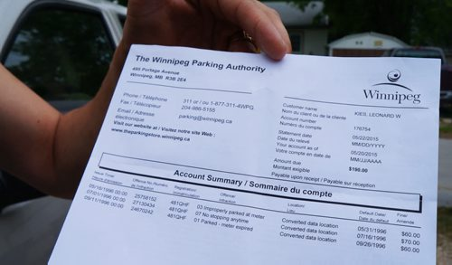 Leonard Kies's parking ticket invoice shows three outstanding tickets from 1996, but doesn't list the locations of the tickets. (Jessica Botelho-Urbanski / Winnipeg Free Press)