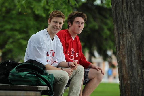 2017 Project:    GlenLawn Collegiate students (formerly Windsor School students) taking part in the 2017 project finish up their 2nd year in high school this year with many new challenges and changes.  Cousins Griffin (left, white shirt) and Jesse goof around just before lunch recently while wearing the schools new hockey jerseys. Both Griffin and Jesse play on hockey teams outside of the school but are happy that the school will be getting their own hockey team next year.   See Doug Speirs story.   June 04, 2015 Ruth Bonneville / Winnipeg Free Press