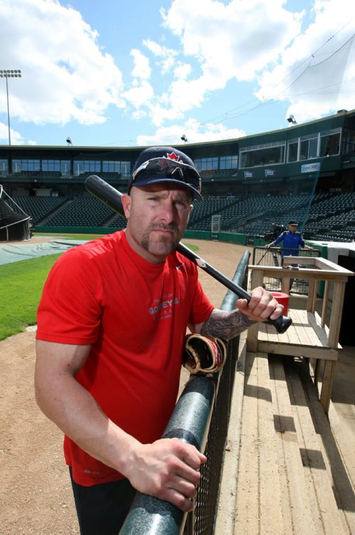 SPORTS - Feature on Goldeyes' #4 veteran OF Jon Weber.  BORIS MINKEVICH/WINNIPEG FREE PRESS June 15, 2015
