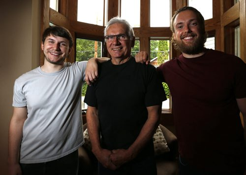 In centre, Bob Cameron, former Winnipeg Blue Bombers punter, and his sons Brett, 24, at right  and Shane, 20. Brett and Shane have both been accepted into medical school at the University of Manitoba and will study to be doctors as part of the same class. Ashley Prest story. Wayne Glowacki / Winnipeg Free Press June 19  2015