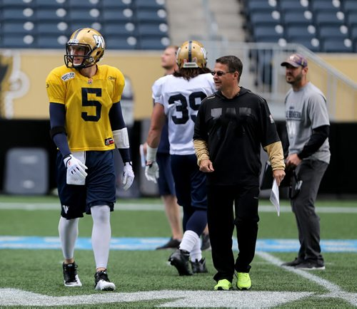 Winnipeg Blue Bombers' quarterback Drew Willy (5) participated in practice today, Monday, July 6, 2015. (TREVOR HAGAN/WINNIPEG FREE PRESS)