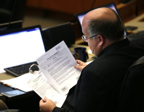 Winnipeg City Councillor Russ Wyatt at the last city council meeting Wednesday before council heads into a six-week break.  Kristin Annable story. Wayne Glowacki / Winnipeg Free Press July 15 2015