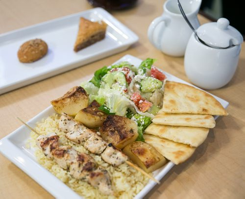 Greek Pavilion, Souvlaki and lemon potatoes. Folklorama Food Fight. August 04, 2015 - Melissa Tait / Winnipeg Free Press