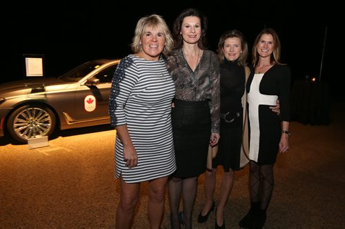 L-R: L-R: Tina Jones (Banville and Jones wine store), Lisa Heimbecker (chair of Gold Medal Plates), Melanie Sefton-Borger and Noni Rosenblatt, at the Gold Medal Plates food and wine event at the RBC Convention Centre Winnipeg on Oct. 16, 2015. Photo by Jason Halstead/Winnipeg Free Press RE: Social Page for Oct. 24, 2015
