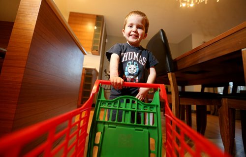 Max Bannister, 4, has been chosen by Starlight Canada , a charity that helps sick kids, to run through Toys'R'Us to get free toys, Monday, October 26, 2015. (TREVOR HAGAN/WINNIPEG FREE PRESS)