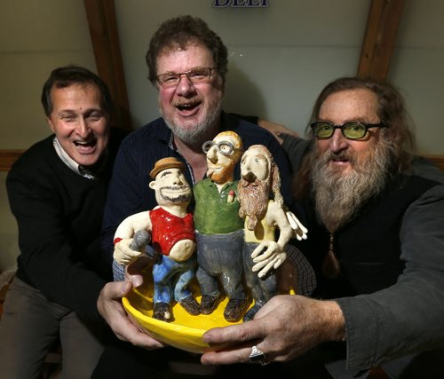 At right, Jordan Van Sewell, artist, created a bowl for the bowl for Winnipeg Harvest's Soup-er Bowl Lunch that includes sculpted figures of himself, Doug Speirs and at left Big Daddy Tazz. He is with Doug Speirs and David Northcott, executive director, Winnipeg Harvest.  The Winnipeg Harvest Soup-er Bowl Lunch is set for Thurs. Nov. 26 at MTS Centre. For Doug Speirs column   Wayne Glowacki / Winnipeg Free Press Nov. 20   2015