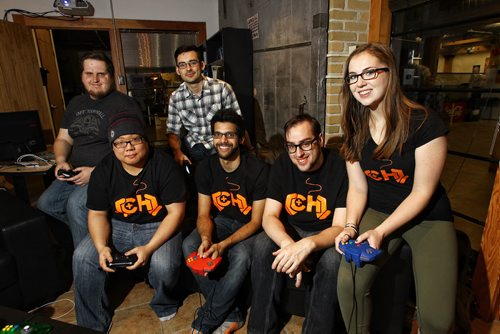 Seven gamers participated in the second annual 24-hour Game-A-Thon held in the offices of Complex Games, raising money for mental health issues. (L-r) Justin Cuschinski, Jason Shin, Nolan Bicknell, Kieran Moolchan, Tony Handkamer and Albertine Watson.  151206 December 06, 2015 MIKE DEAL / WINNIPEG FREE PRESS