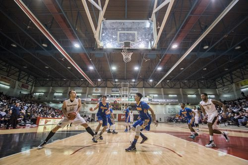 DAVID LIPNOWSKI / WINNIPEG FREE PRESS 151230  University of Manitoba Bisons Wyatt Anders (#12) looks for the shot against the Lakehead University Thunderwolves Wednesday December 30, 2015 during the 49th Wesmen Classic University Final at the Duckworth Centre.