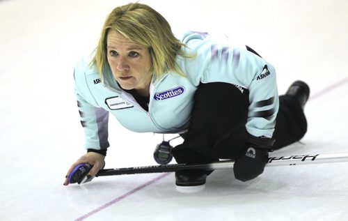 "BEAUSEJOUR, MB - Cathy Overton-Clapham, or nicknamed Cathy ""O"", practices at the Sun Gro Centre for The Scotties Tournament of Hearts this afternoon. BORIS MINKEVICH / WINNIPEG FREE PRESS January 19, 2016"