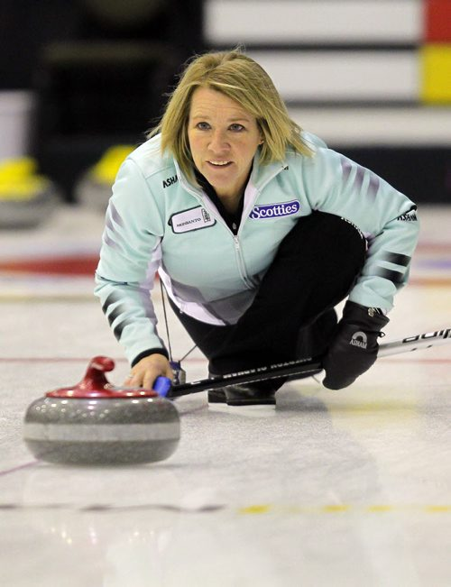 """BEAUSEJOUR, MB - Cathy Overton-Clapham, or nicknamed Cathy """"O"""", practices at the Sun Gro Centre for The Scotties Tournament of Hearts this afternoon. BORIS MINKEVICH / WINNIPEG FREE PRESS January 19, 2016"""