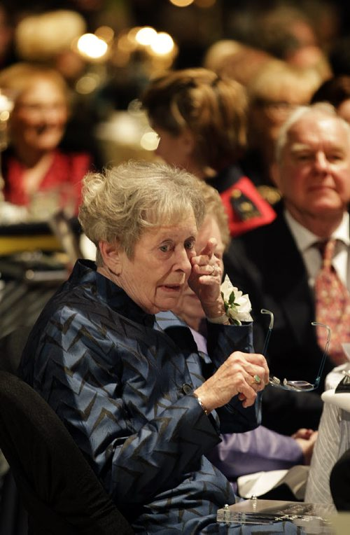 Signy Hansen, daughter of Dr Jessie Lang wipes tears away after acceopting the very first Nellie Award on behalf of her 99 yr old mother, Jessie who was too ill to attend the Centennial Gala, Celebrating 100 Years of Manitoba Women's Right to Vote Thursday evening. See story. January 28, 2016 - (Phil Hossack / Winnipeg Free Press)