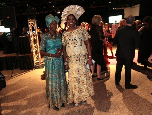 "Elizabeth Aluk (left0, and Arek Manyang pose in traditional garb from their homeland South Sudan. The women were representing ""Manitoba Women for Women of SOuth Sudan at  the Centennial Women's Gala, Celebrating 100 Years of Manitoba Women's Right to Vote. See Story. January 28, 2016 - (Phil Hossack / Winnipeg Free Press)"