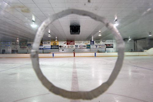 JOE BRYKSA / WINNIPEG FREE PRESS Manitou, Manitoba, Local  advertising inside the Manitou Community Arena as seen from the timers booth, February 16, 2016.( See Randy Turner rural hockey rinks 49.8 story)