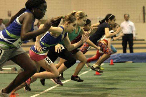 RUTH BONNEVILLE / WINNIPEG FREE PRESS Girls compete in the 60m dash in the pee wee division at the 2016 Boeing Indoor Classic at James Daly Fieldhouse Friday evening.   March 4th, 2016