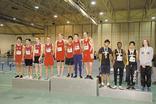 Canstar Community News The Kelvin High School A team (centre) won the junior men's 1600 metre relay at the 2016 High School Series provincial indoor athletics championship on March 17. The Kelvin High School B team (left) was second, while Fort Richmond Collegiate (right) finished third.