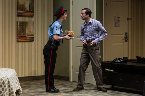 MIKE DEAL / WINNIPEG FREE PRESS Tom Keenan and Heather Russell perform during a dress rehearsal for the RMTC production of Unnecessary Farce which will be running from March 31 to April 23. 160329 - Tuesday, March 29, 2016