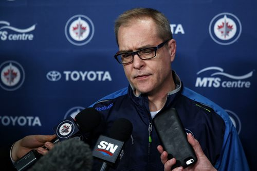 MIKE DEAL / WINNIPEG FREE PRESS  Winnipeg Jets head coach Paul Maurice talks to the media before the team heads to Anaheim to get ready for tomorrow nights game against the Ducks.    160404 Monday, April 04, 2016