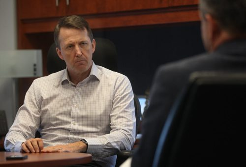JOE BRYKSA / WINNIPEG FREE PRESS  Mark Chipman -Executive Chairman of the Board of True North Sports & Entertainment does one on one interview with Winnipeg Free Press hockey writer Tim Cambell, Apr 15, 2016.(See Tim Campbell story)