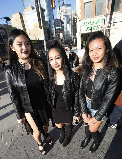 JOHN WOODS / WINNIPEG FREE PRESS Rihanna fans Camille (from left), Camille and AJ pose for a photo before heading into the show  Monday, April 18, 2016.