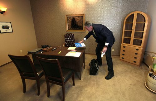PHIL HOSSACK / WINNIPEG FREE PRESS One the eve of Manitoba's Provincial election after running the section roads around his family homestead near Edwin Mb. Brian Pallister gathers his notes to prepare a speech to deliver after the results arrive Election night.   April 18, 2016 - APRIL 15, 2016