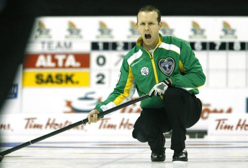 John Woods / Winnipeg Free Press / March 14/08- 080314  -  Saskatchewan's Pat Simmons calls the shots in a playoff game against Alberta's Kevin Martin at the 2008 Tim Hortons Brier in Winnipeg Friday March 14, 2008.