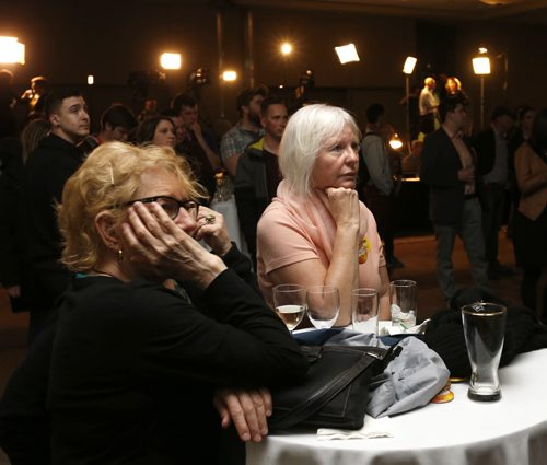 WAYNE GLOWACKI / WINNIPEG FREE PRESS    NDP supporters watch the 2016 election results come in at the NDP 2016 post election gathering Tuesday at the RBC Convention Centre Winnipeg. Kristin Annable  story  April 19  2016