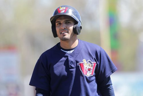 RUTH BONNEVILLE / WINNIPEG FREE PRESS  Goldeyes #3 Maikol Gonzalez  at the opening day training camp Saturday at Shaw Field.    May 07, , 2016