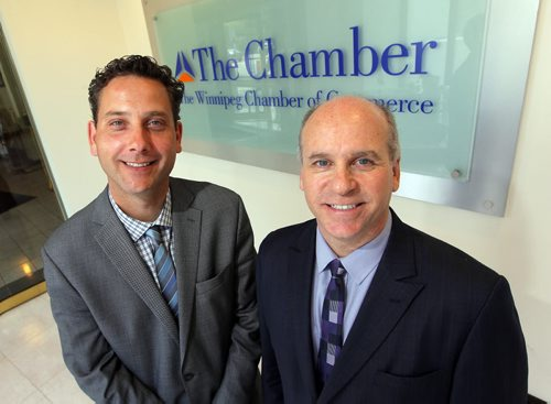 BORIS MINKEVICH / WINNIPEG FREE PRESS (right) Dave Angus – president and CEO of the Winnipeg Chamber of Commerce announced today his resignation after 17 years running the chamber. (Left) New incoming president Loren Remillard (Executive Vice President now). June 2, 2016.