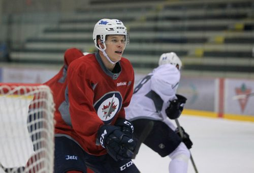 RUTH BONNEVILLE / WINNIPEG FREE PRESS  Hockey player Jacob Cederholm practices on ice in the Winnipeg Jets Development Camp at IcePlex Wednesday morning.   See Tim Campbell story.       July 06, 2016