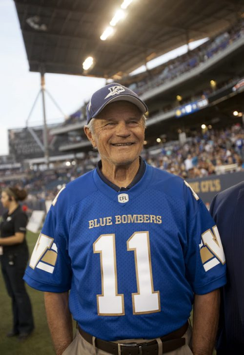 RUTH BONNEVILLE / WINNIPEG FREE PRESS  The Winnipeg Blue Bombers induct Ken Ploen, an all-star quarterback who joined the Bombers in 1957, into the Ring of Honour during halftime  of Bombers hosting Eskimos game at Investors Group Stadium Thursday night.    July 14, 2016