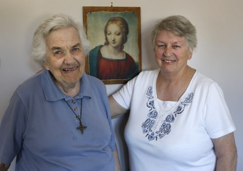 WAYNE GLOWACKI / WINNIPEG FREE PRESS   At right, Sister Sheila with Sister Aileen Gleason, 92, in Sister Aileen's apartment at St. Benedict's Monastery.  Sister Aileen is the the co-founder of Hospitality House Refugee Ministry.  On Tuesday there's a celebration of her 70th anniversary as a nun - a member of the order of Lady of the Missions.    Carol Sanders story  July 25 2016