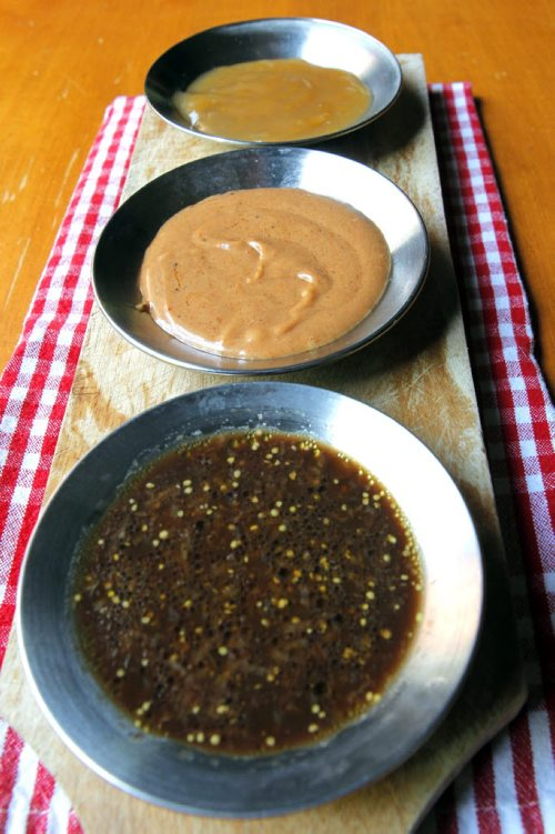 BORIS MINKEVICH / WINNIPEG FREE PRESS FOOD - For Wendy King story BBQ  sauces/dips. (bottom to top) Steak marinade, peanut sauce, sweet and sour sauce. July 29, 2016