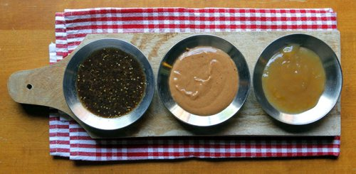 BORIS MINKEVICH / WINNIPEG FREE PRESS FOOD - For Wendy King story BBQ  sauces/dips.(L-R) Steak marinade, peanut sauce, sweet and sour sauce. July 29, 2016