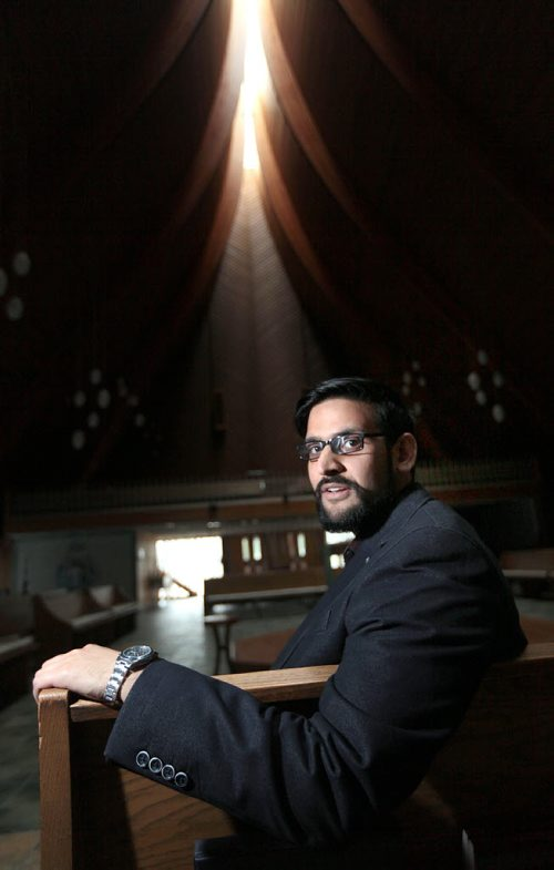 PHIL HOSSACK / WINNIPEG FREE PRESS -  Dr. Nazir Khan re: Muslims and Roman Catholics come together for dialogue around nature of God and human suffering,  he's posing in the sanctuary of Christ the King Roman Catholic Church. Brenda Suderman story.  August 2, 2016