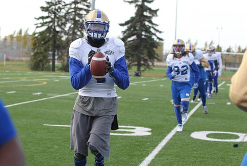 RUTH BONNEVILLE / WINNIPEG FREE PRESS  Winnipeg Blue Bombers #4 Darvin Adams, was practicing with his teammates Tuesday on field next to Winnipeg Indoor Soccer Complex.   October 25, 2016