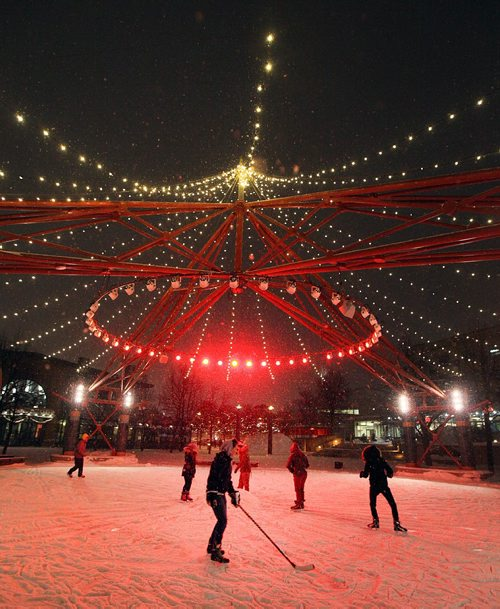 PHIL HOSSACK / WINNIPEG FREE PRESS -  RIVER TRAIL at NIGHT.....Many skaters warm up under the dome besiode the Forks Market before venturing out onto the river trails. Skaters cyclists and walkers started making their appearance Monday night as the Forks River trail opened officially for the season. ....January 9, 2017