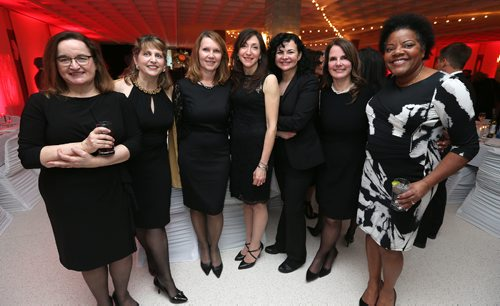 JASON HALSTEAD / WINNIPEG FREE PRESS  L-R: SMA grads Irene Gartner, Carolyn Eva-Meadows, Carla Grom, Mary Hower, Mary Shariff, Jacqueline Picard and Gisele Charr at the St. Mary's Academy Igniting Hope Gala gala on Jan. 28, 2017, at St. Mary's Academy. (See Social Page)