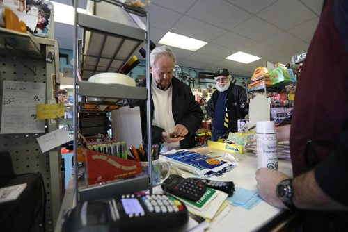RUTH BONNEVILLE / WINNIPEG FREE PRESS  Sunday feature - THIS CITY - Corydon Hardware Corydon Hardware, owner Rob Benson, for a Sunday This City spread on Cordyon Hardware, which has been in Benson's family since 1949, when his grandfather bought an existing biz, Weir Hardware, and changed the name to Corydon Hardware... Various shots of Benson helping customers, on the phone, cutting keys, weighing screws on working vintage scale and outside his business.  Also, photos of  his tool museum above merchandise display - the tools belonged to his dad, who passed away in 2009, but serve as a neighborhood wall of fame, kinda.... thru the years, customers have contributed their own tools to the display. See Dave Sanderson's story.   Feb 24, 2017