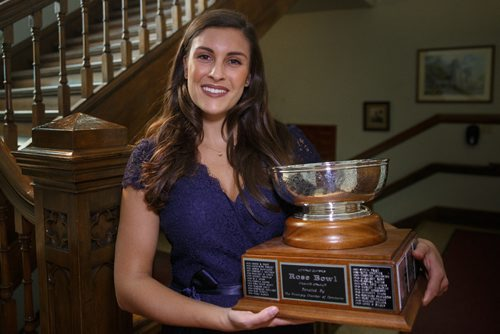 MIKE DEAL / WINNIPEG FREE PRESS Emma Johnson winner of the Rose Bowl at this years Winnipeg Music Festival with her trophy before the Gala Concert at the Westminster United Church Sunday afternoon. 170319 - Sunday, March 19, 2017.
