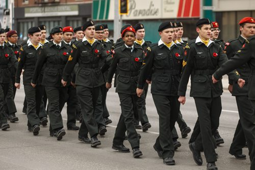 MIKE DEAL / WINNIPEG FREE PRESS Cadets march the memorial parade in which approximately 250 cadets made their way down Portage Avenue from the 44th Manitoba Battalion's Vimy Ridge memorial in Vimy Ridge Park to the Cenotaph on Memorial Boulevard on Sunday afternoon. 170409 - Sunday, April 09, 2017.
