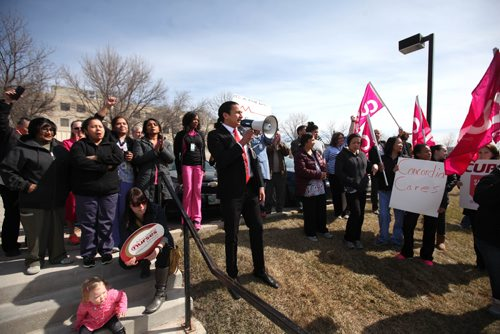 RUTH / BONNEVILLE WINNIPEG FREE PRESS  Fort Rouge MLA Wab Kinew  talks to Concordia Hospital workers , concerned citizens and CUPE members in front of Concordia Hospital Tuesday during rally against the provincial governments plans to close the ER department and turn it into a Urgent Care facility.   April 11, 2017
