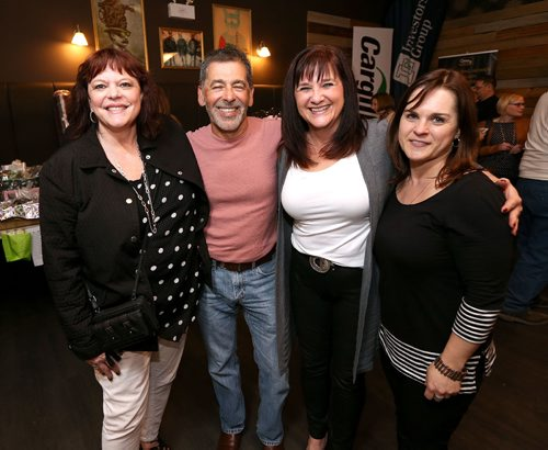 JASON HALSTEAD / WINNIPEG FREE PRESS  L-R: Wendy Zilkie, Miles Kereliuk, Cathy Jowett and Cindy Frost of gold sponsor Cargill at the Fort Garry Women's Resource Centre fundraiser at the Park Theatre on April 20, 2017. (See Social Page)